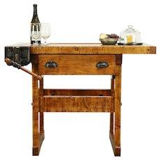 Carpenter Antique Maple Workbench, Kitchen Island or Wine & Cheese Table #31491