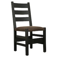 Arts & Crafts Mission Oak Antique Desk or Side Chair, New Leather #31493