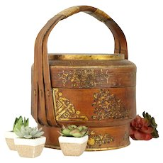 """Japanese Antique 14"""" Food Carrier or Picnic Basket, Hand Painted  #31497"""