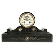 French Black Marble Antique 1880 Mantel Clock, Open Escapement, Mougin #31498