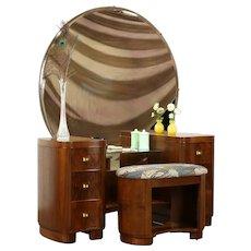 Midcentury Modern Vintage Walnut Vanity, Mirror & Bench, New Upholstery #31507