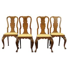 Set of 4 Antique 1820 Dutch Marquetry Game or Dining Chairs #31512