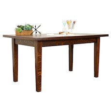 Craftsman Oak Antique Library Table, Desk or Dining Table, Signed #31515