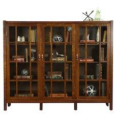 Arts & Crafts Mission Oak Antique Triple Library Bookcase, Wavy Glass #31516