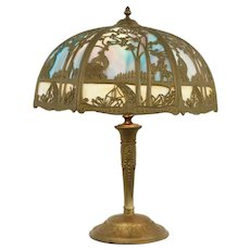 Stained Glass 2 Color Curved Panel Shade Antique Lamp, Filigree #31517
