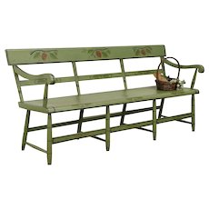 Hitchcock Antique 1850 New England Deacon or Hall Bench, Painted Settle #31522