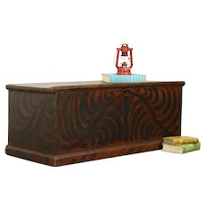 Country Pine Grain Painted Antique Trunk Blanket Chest, Coffee Table, GW  #31524