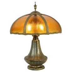 Curved Hammered Stained Glass Shade 8 Panel Antique Art Deco Lamp #31527