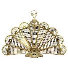 Peacock Fan Brass Vintage Folding Fireplace Screen #31536