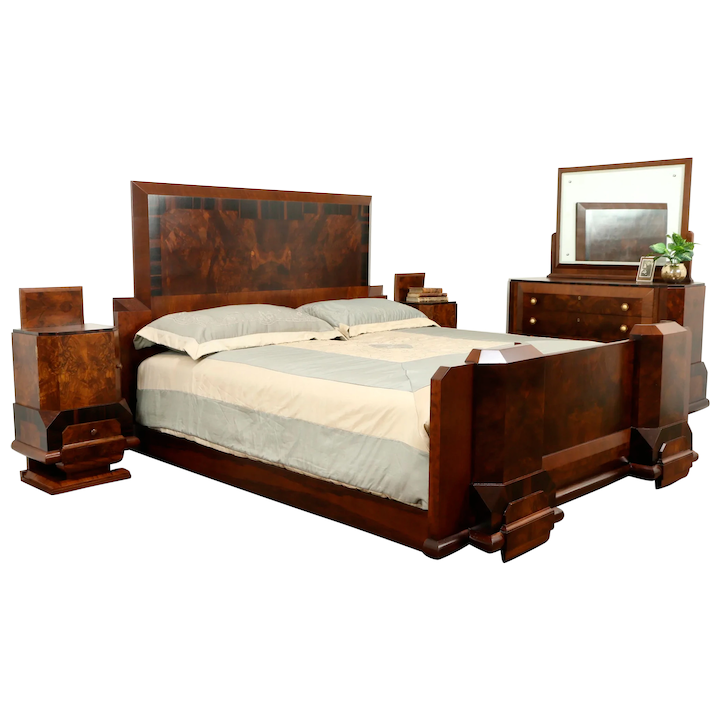 Italian Art Deco Rosewood Antique 4 Pc Bedroom Set King Size Bed Harp Gallery Antique Furniture Ruby Lane