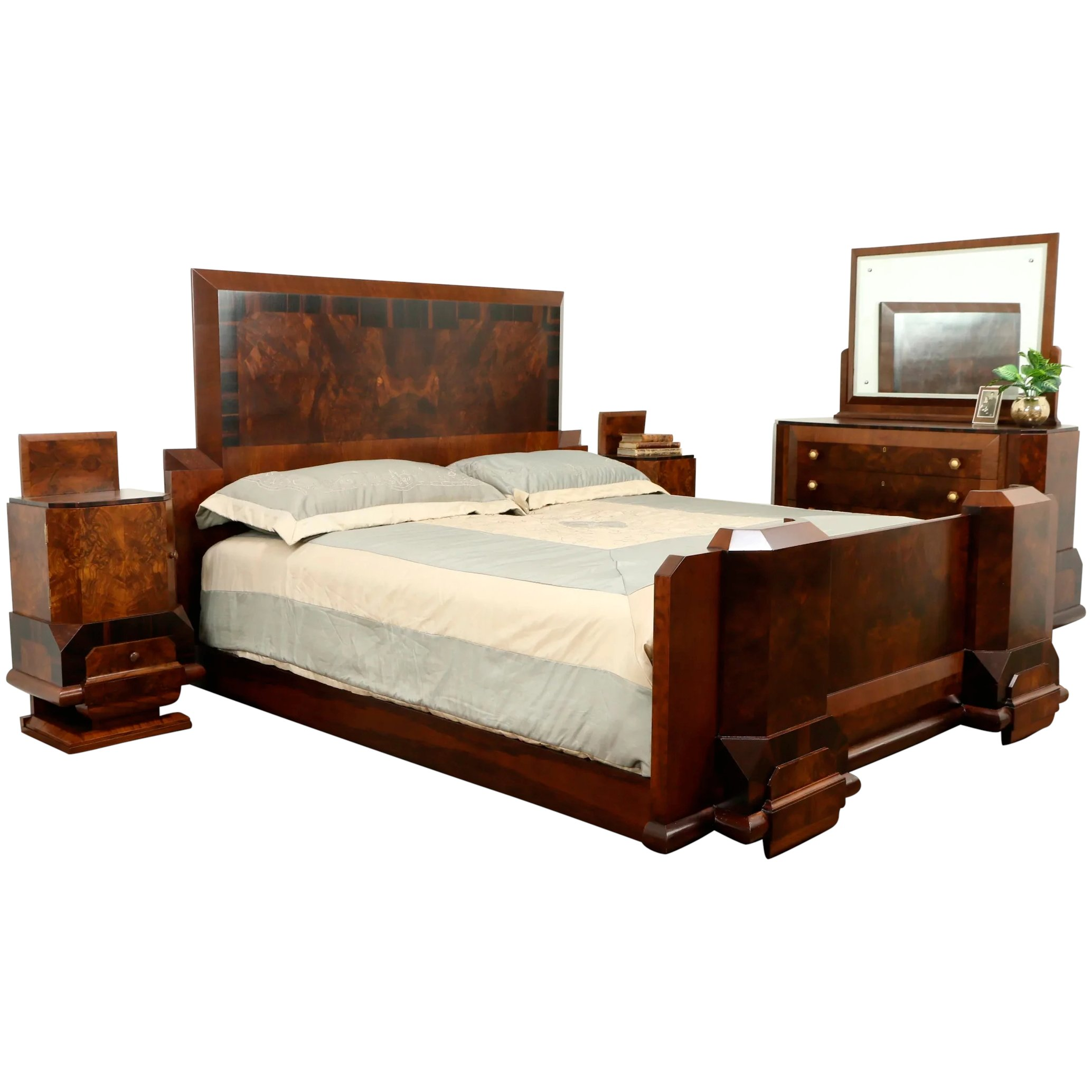 Italian Art Deco Rosewood Antique 4 Pc Bedroom Set, King Size Bed #31562