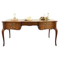 French Carved Oak Antique Library Partner Desk, Banded Top #31566