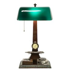 Green Glass Antique Desk Lamp, Inkwell & Clock, Verdelite Pat. 1917 #31571
