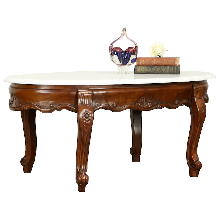 Victorian Design Vintage Carved Mahogany Coffee Table Marble Top 31572
