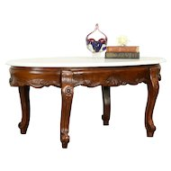 Victorian Design Vintage Carved Mahogany Coffee Table, Marble Top #31572