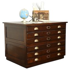 Oak Antique 6 Drawer Stacking Map Chest, Document or Collector File #31576