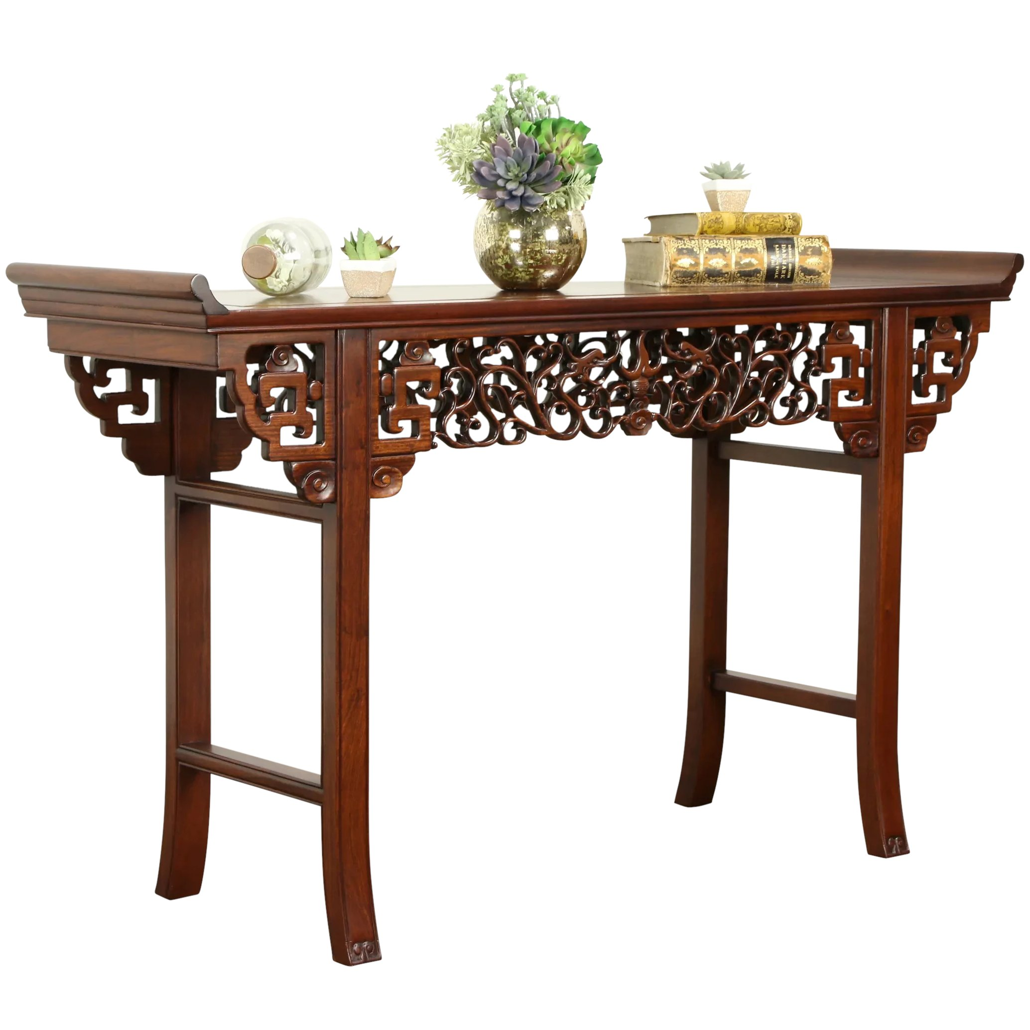 Rosewood Carved Vintage Chinese Altar Or Sofa Table Hall Console 31581