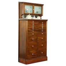 Mahogany Antique Dental Cabinet, 15 Drawers, Jewelry, Collector  #31587