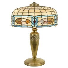 Leaded Stained Glass Shade Antique 1920 Lamp, Brass Base #31596