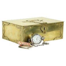 Brass Antique Humidor, Jewelry Box, Treasure Chest, Bradley & Hubbard #31598