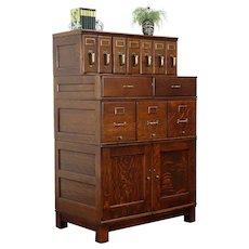 Oak Antique Stacking 12 Drawer File Cabinet, Shaw Walker, Bullet Hole #31601
