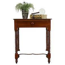 Victorian Antique 1850 Nightstand or Lamp Table, Spool Turned Legs #31607