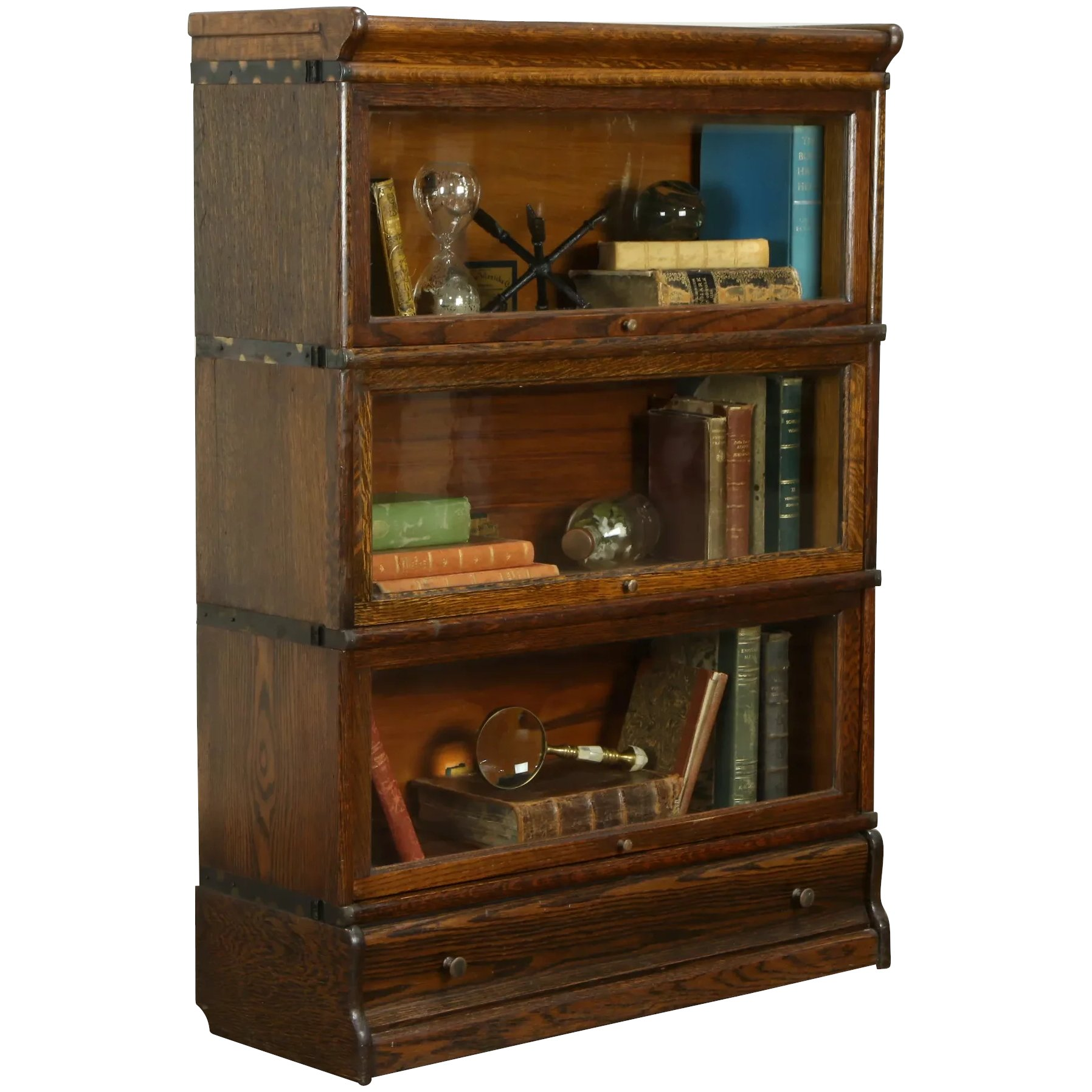 Oak Antique 3 Stack Lawyer Bookcase All Original Globe Wenicke 31616
