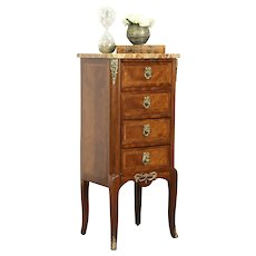 French Antique Rosewood Lingerie Chest or End Table, Marble Top #31628
