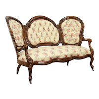 Victorian Antique Faux Rosewood Carved Walnut Sofa, Recent Upholstery #31632