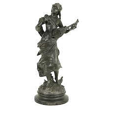La Poesie or Poetry, Antique French Statue, Young Woman & Mandolin #31635