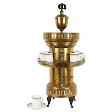 Copper & Brass Antique Coffee Pot or Urn, Gallery Cup Warmer #31651