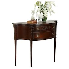 Traditional Hepplewhite Carved Mahogany Vintage Hall Console Table #31680