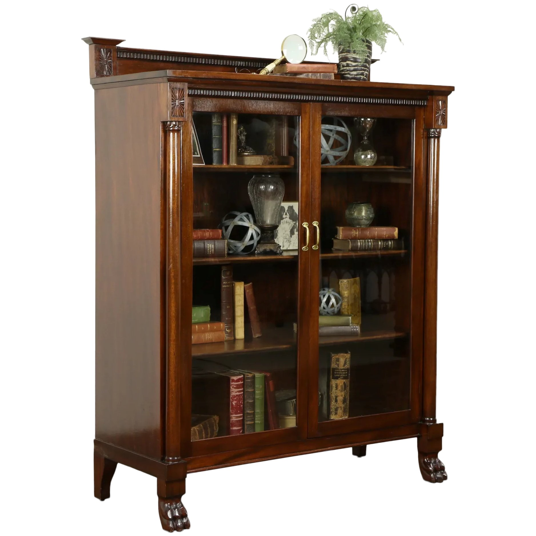 Empire Antique Mahogany Bookcase China Cabinet Carved Claw Feet 31686