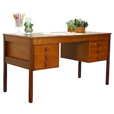 Teak Danish Mid Century Modern Vintage Library Desk, Domino #31690