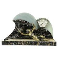 French Art Deco Antique Marble Clock, Kissing Couple Sculpture #31698