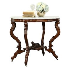 Victorian Antique Walnut Marble Top Parlor or Lamp Table, Carved Dog #31701