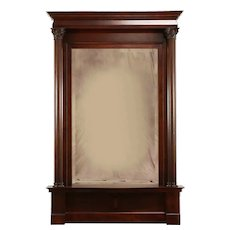 Classical Antique Victorian Beveled Hall or Pier Mirror, Carved Columns #31704