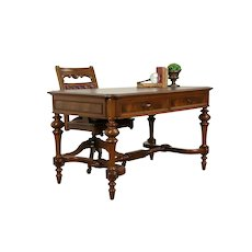 Victorian Antique Walnut Library Table or Desk, Butcher Block Top #31713