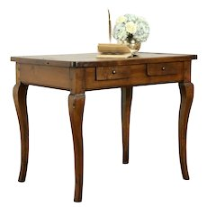 Country French Antique Carved Walnut 1800 Library Table or Desk #31714