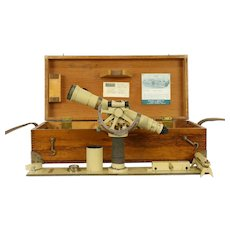 Kueffel & Esser Signed Vintage Theodolite Surveyor Transit Oak Case #31715