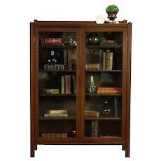 Art & Crafts Mission Oak Antique Craftsman Bookcase, Wavy Glass Doors #31728