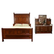 Carved Cherry Antique Bedroom Set, Queen Size Bed, Marble Top Dresser #31732