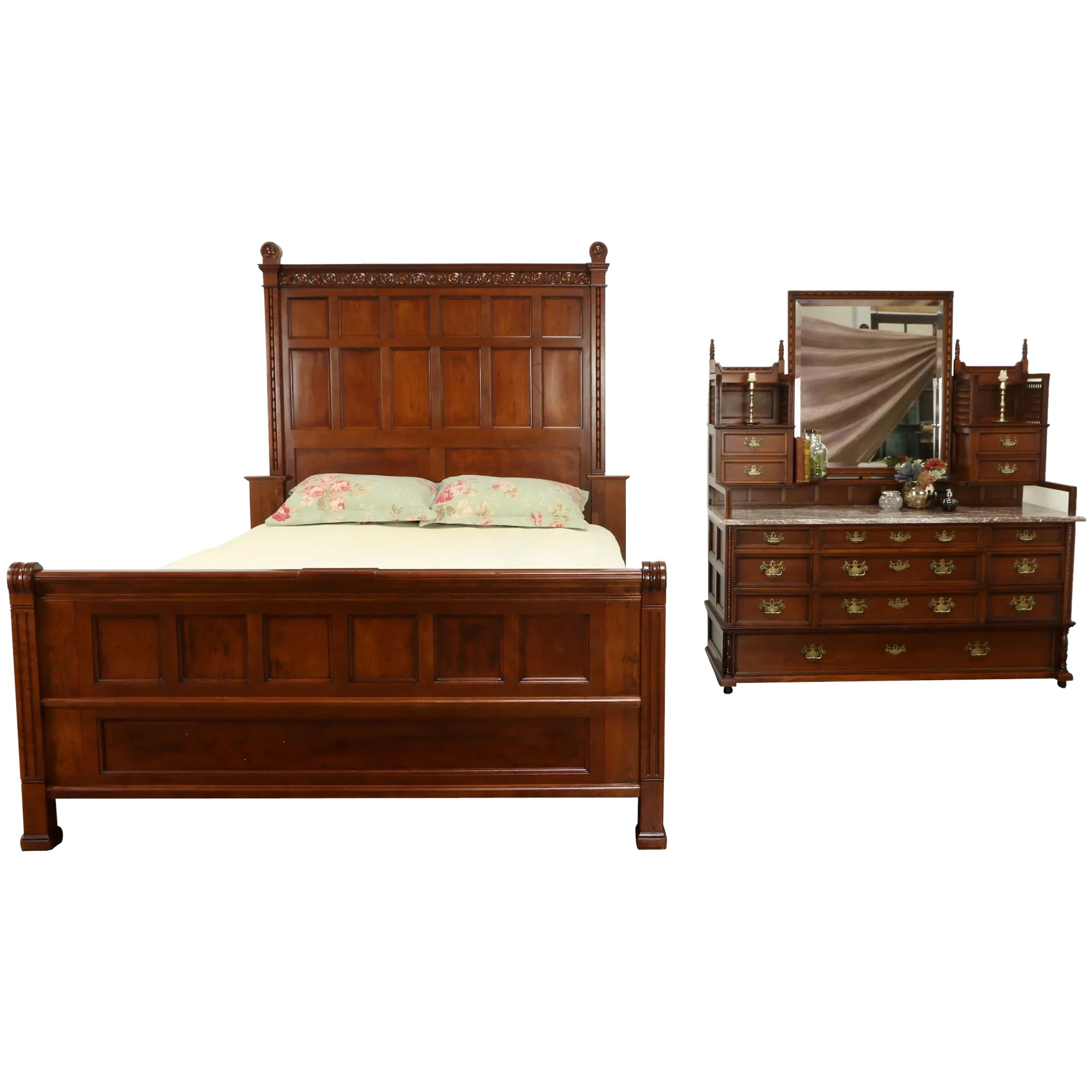 Carved Cherry Antique Bedroom Set Queen Size Bed Marble Top Dresser Harp Gallery Antique Furniture Ruby Lane