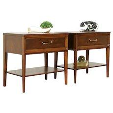 Pair of Midcentury Modern 1960 Vintage Walnut Lamp Tables, Nightstands #31736