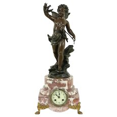 French Antique Marble Mantel Clock, Hunt Cherub Statue, Marti #31743