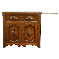 Victorian Antique Walnut Small Chest or Commode, Towel Bar Carved Pulls #31746