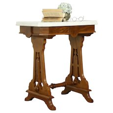 Victorian Antique Walnut Marble Top Lamp or Parlor Table   #31760