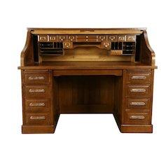 Quartersawn Oak Antique Roll Top Library or Office Desk, Raised Panels #31763