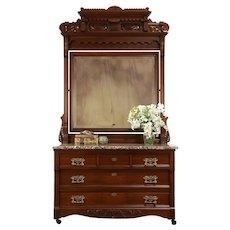 Victorian Antique Carved Walnut Chest or Dresser, Marble, Beveled Mirror #31766