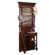 Victorian Antique Walnut Hall Hat & Umbrella Stand, Mirror & Marble #31771